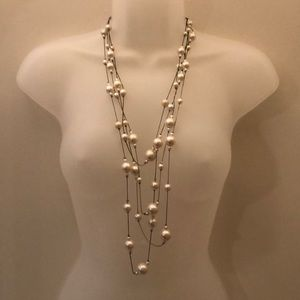 Delicate floating faux pearl necklace